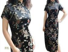 black  blue red Chinese style women's silk/satin  long evening dress size S-3XL