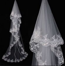 Luxurious Cathedral Wedding Bridal Veil 1T ivory white  Lace edge 280cm length
