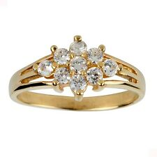 10K Yellow Gold CZ Cluster Ring with Triple Shank cubic zirconia