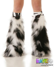 Luminous Fluffy Furry Rave Boot Cover Leg Warmers With Zebra Knee Bands