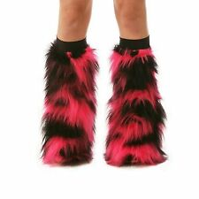 Hot Pink Black Fluffy Rave Boot Cover Leg Warmers Fluffies / Black Knee Bands