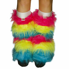 Rainbow Fluffy Furry Rave Leg Warmer Boot Cover Fluffies / White Kneebands