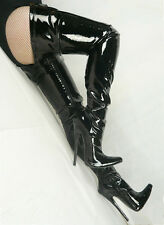 """New Sexy 7"""" Supper High Heel Stiletto Crotch Show Girl Thigh High Boots Black"""
