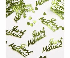 Just Married Confetti Decor Wedding Party Table Champagne Hearts Horse Shoes