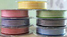 Berisfords Candy Stripe 16mm Ribbon Pink Navy Red Green Black or Light Blue