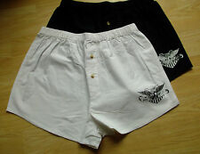 2 PAIRS NEW MENS BORN TO BE WILD BOXER SHORTS SIZE MEDIUM WHITE & BLACK