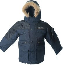 Lion Force Boy's Parka Coat hooded Winter Jacket POLO fleece 2-tone BLACK NAVY
