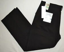 PERRY ELLIS TAILORED FIT COTTON RETAINS SHAPE BLACK MODERN TWILL CHINO PANTS MEN