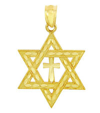 Gold Jewish Star of David and Cross Charm Pendant