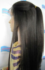 "4""*5"" silk top Yaki Straight lace wig 100% indian remy human hair wigs 8""-22"""