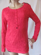 New FOX Racing Womens Jrs Red Casual Invisible L/S Henley Tee Shirt Knit Top $34