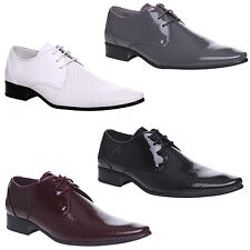 MENS LEATHER BLACK POINTED  FORMAL CASUAL OFFICE LACE UP PARTY SHOES SIZE 6-11