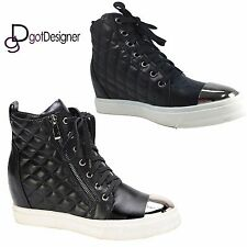 NEW Womens Fashion Shoes Platforms Sneakers Lace Up High Top Boots Black Casual
