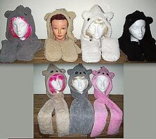 KOALA or TEDDY BEAR SHERPA ATTACHED HOOD SCARF MITTS 3 IN 1 age 10-15 & ADULT