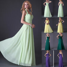 4 Styles Long Formal Wedding Bridesmaid Party Evening Long Dress Prom Gown Stock