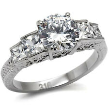 5 CZ Stone Cubic Zirconia Wedding Engagement Band Ring for Women Commitment Ring