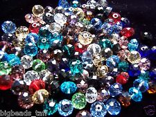 50x flat round facted crystal rondelle loose beads 8,10, 12mm various colors