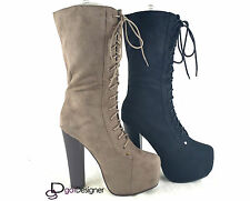 NEW Womens Fashion Shoes Mid Calf Boots High Heels Pumps Platform Lace Up Sexy