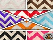 "Chevron SMALL Minky Print Fabric / 58"" W / Sold by the Yard"