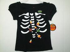 Baby girls Halloween T-shirt rib cage candy corn glow in the dark size - 3T