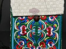 CHINESE ART CHINA EMBROIDERY LINEN SILK COINS JEWELLER PURSE WALLET SHOULDER BAG