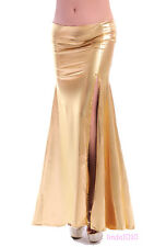 NEW Sexy belly dance Costume Skirt with slit skirt 2 colors Gold/Silver