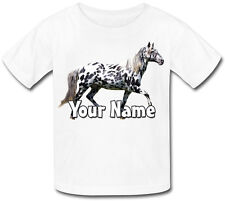 CHILDS PERSONALISED APPALOOSA GREY PONY / HORSE  KIDS T-SHIRT - GIFT & NAMED