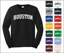 City of Houston College Letter Long Sleeve Jersey T-shirt