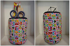 "PINK Blue Owls & More Owls Fabric Eyeglass Case Holder ""OR"" Fabric Pencil Holder"