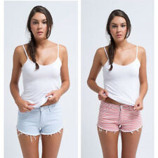 Just Add Sugar Womens Denim Short Candy Sherbet Stripe Shorts Frayed RRP $ 69.95