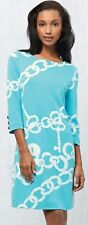 $168 Lilly Pulitzer Jonah Shorely Blue Ball And Chain Ponte Jersey Belted Dress
