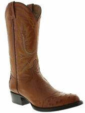 Mens genuine ostrich skin cowboy boots brown wing tip round toe western rodeo