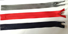 """2 X 8"""" (20CM) YKK NYLON CONCEALED CLOSED END ZIP  3  COLOURS TO CHOOSE FROM"""