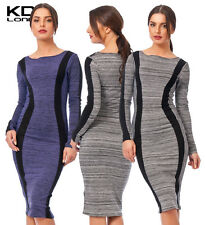 New KDK LONDON Textured Bodycon Long Sleeve Panel Dress