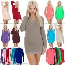 New Womens Ladies Plain V-Neck Knitted Long Jumper Dress Size 8-10-12-14 M L XL