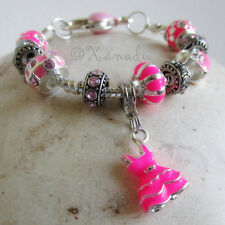 Pink Fashionista European Charm Bracelet With Pink And Fuchsia Rhinestone Beads