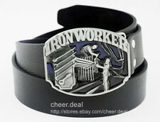 Plumber Iron Worker Tradesman Occupation Tools Metal Buckle Mens Leather Belt