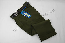 BOYS OLIVE GREEN DRESS PANT FANCY PLEATED WITH BLACK BELT Sizes 4 to 10