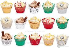 Christmas Cupcake Decoration Wrappers - Xmas Gold, Green, White, Silver, Red Bun