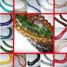 70/100 RONDELLE BEADS FACETED CRYSTAL GLASS CUT 38 COLOURS 8mmX6mm & 6mmX4mm BD2