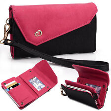 New! Kroo Designer Fashion Smart-Phone Wristlet Clutch EPI Leather Pouch Black