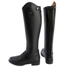 Ladies Mens Black Brown Horse Riding Show Jumping Leather Tall Boots Size 3-10