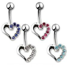 316L Surgical Steel Silver CZ Hollow Heart Navel Belly Ring