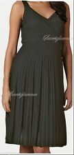 $418 Eileen Fisher Cinder Grey Refined Viscose Pleat Surplice K/L Dress Large L