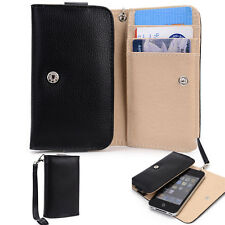 Slim Black Flip Designer PU Leather Smartphone Wrist-Let Cover Pouch Bag Guard
