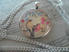 Vintage Birds and Flowers Tree Image,Glass Necklace, Art Cabochon Jewellery 25mm