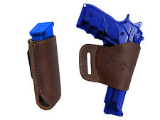 Barsony Brown Leather Yaqui Gun Holster w/Mag Pouch for CZ, EAA, FEG Full Size