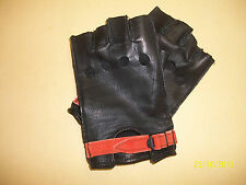 BLACK DEERSKIN LEATHER OPEN KNUCKLE FINGERLESS BIKER GLOVES....MADE IN THE USA