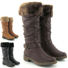 WOMENS LADIES LOW HEEL KNEE HIGH LADIES FLAT WARM WINTER BIKER RIDING FUR BOOTS