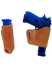 Barsony Tan Leather Yaqui Gun Holster w/Mag Pouch for Glock HK FN Full Size